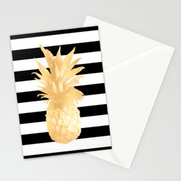 Gold Pineapple Black and White Stripes Stationery Cards
