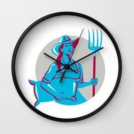 Female Organic Farmer Sack Pitchfork Circle Retro Wall Clock