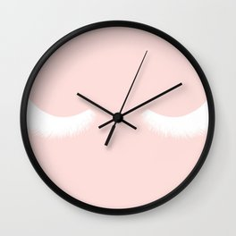 pink and white eyelashes Wall Clock