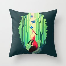 The Fox and the Butterflies Throw Pillow