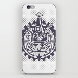 Man with monocle and machine helmet iPhone Skin