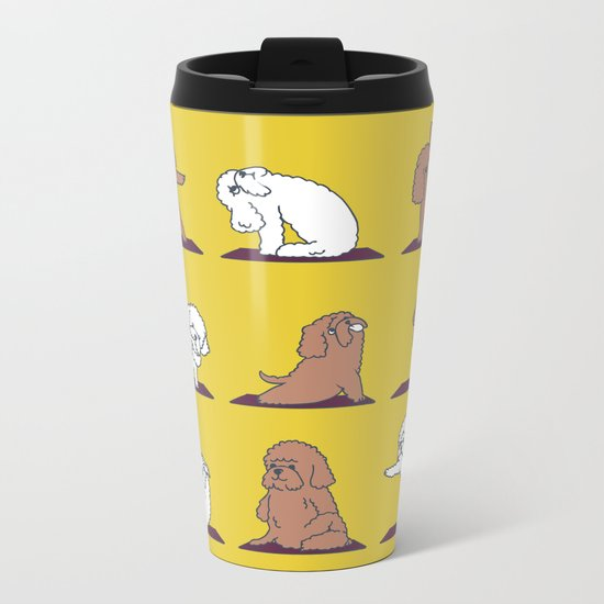 Poodle Yoga Metal Travel Mug