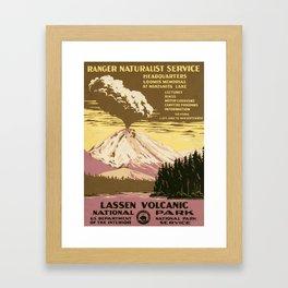 Lassen Volcanic National Park (U.S. National Park Service) - Vintage Poster Framed Art Print