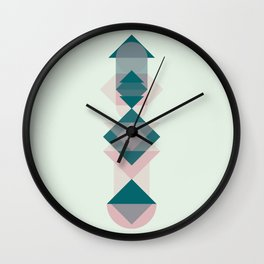 Nr. 1 Geometric Totem Pole Blush Pink and Green Wall Clock