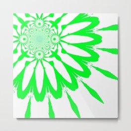 White & Green Modern Flower Metal Print
