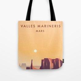 Valles Marineris Mars Sci-fi travel poster. Tote Bag