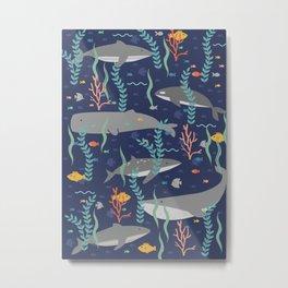 Whales in the Ocean Pattern Metal Print