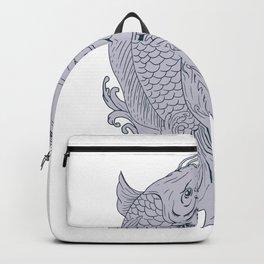 Hannya Mask and Koi Fish Drawing Backpack