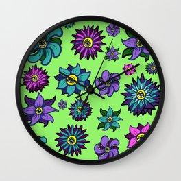 Eye Flowers Wall Clock
