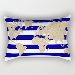 Gold glitter and blue stripes world map Rectangular Pillow