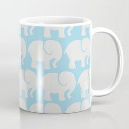 Troop Of Elephants (Elephant Pattern) - Gray Blue Coffee Mug