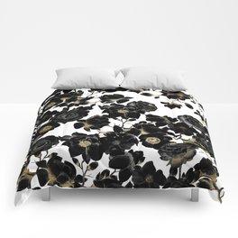 Modern Elegant Black White and Gold Floral Pattern Comforters