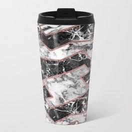 Geometrical modern faux rose gold black white marble Metal Travel Mug