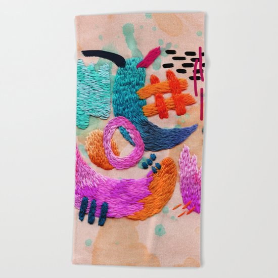 abstract embroidery Beach Towel