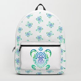Tribal Turtle on White Backpack