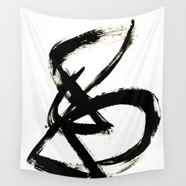 Brushstroke 3 - a simple black and white ink design Wall Tapestry
