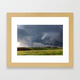 Twins - Two Tornadoes Touch Down Near Dodge City Kansas Framed Art Print
