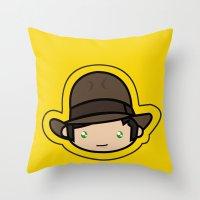 indiana jones Throw Pillows featuring Indiana Jones Kawaii by Aimee Liwag