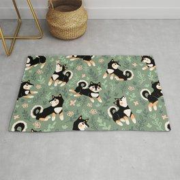 Playful Black And Tan Shiba Inu Pattern Rug