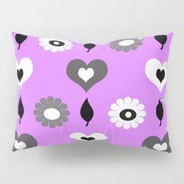 Daisy heart print violet Pillow Sham