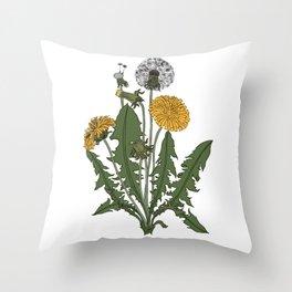 Vintage Botanical Style Dandelion Illustration Throw Pillow
