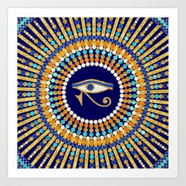 Eye of Thoth with Mandala Inspired By Ancient Egyptian Necklace (lapis lazuli blue) background) Art Print