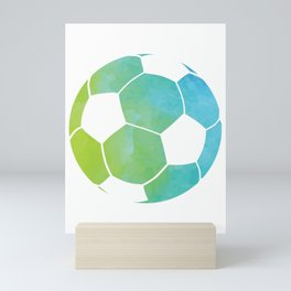Watercolor Pattern Soccer Ball Soccer Gift  Mini Art Print