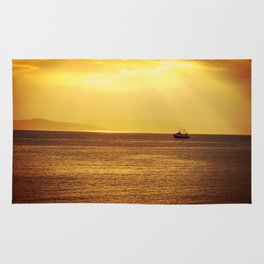 Going Fishing at sunset Rug