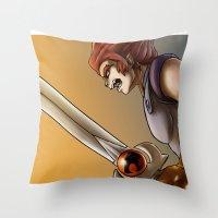 thundercats Throw Pillows featuring Leon-O by Sabina  Daldovo