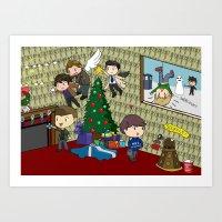 superwholock Art Prints featuring SuperWhoLock Christmas by Rebecca McGoran