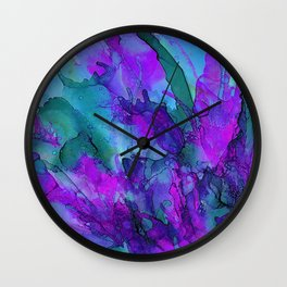 Alcohol Ink Flowers 2 Wall Clock