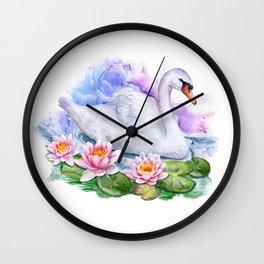 Watercolor Lotus Swan Wall Clock
