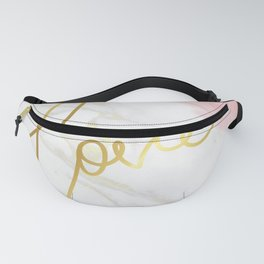 Love | Gold Framed Typography on Pink Water Colour Marble Fanny Pack