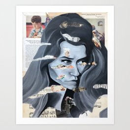 Newsprint Woman Art Print