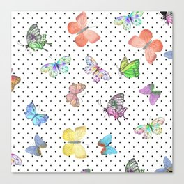 Colorful pink teal watercolor hand painted butterfly polka dots Canvas Print