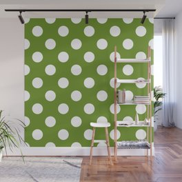 Olive Drab (#3) - green - White Polka Dots - Pois Pattern Wall Mural