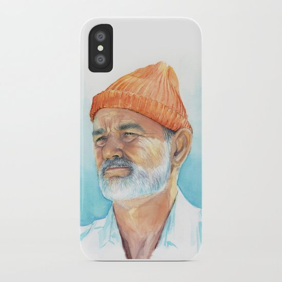 Steve Zissou Art Life Aquatic Bill Murray Watercolor Portrait iPhone Case