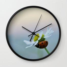 Ladybug on a Chamomile Flower Wall Clock