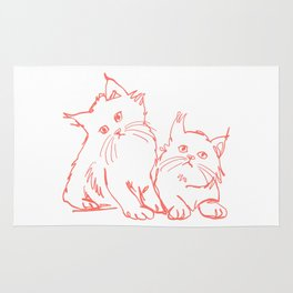 Katzen 001 / Minimal Line Drawing Of Two Cats Rug