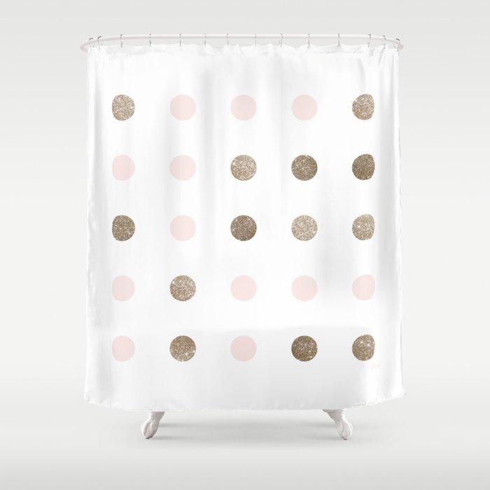 Blush Pink Modern Dots Shower Curtain by 2birdstone | Society6