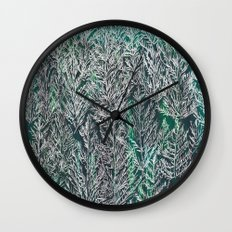Snow Pines (Green) Wall Clock