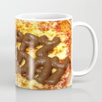 poop Mugs featuring Pizza Poop by Carsick T-Rex
