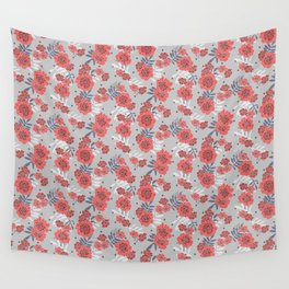 Crimson and Silver Floral Wall Tapestry