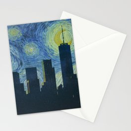 Vincent Van Gogh Starry Night Over New York City Skyline Stationery Cards