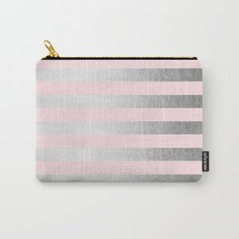 Stripes Moonlight Silver on Flamingo Pink Carry-All Pouch