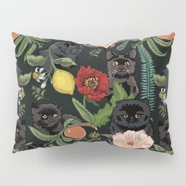 Botanical and Black Cats Pillow Sham