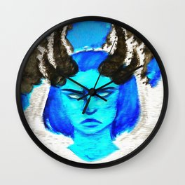 Devil With A Blue Face On Wall Clock