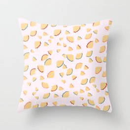 Pencil Shavings Pattern on Pink Background Throw Pillow