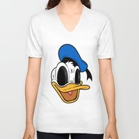 donald duck V-neck T-shirts featuring Donald Duck the Creep by Daniel Hannih