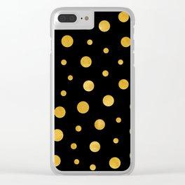 Elegant polka dots - Black Gold Clear iPhone Case